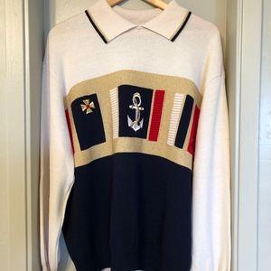 St. John Sportswear collared nautical sweater